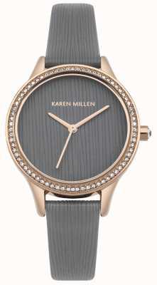 Karen Millen Mostrador texturizado legal em couro cinza KM165ERG