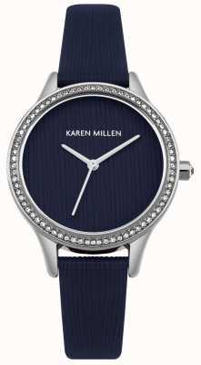 Karen Millen Mostrador texturizado de couro azul marinho KM165U