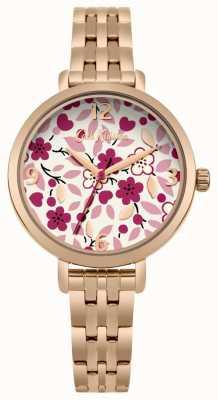 Cath Kidston Mostrador de impressão de flor de pulseira de ouro rosa CKL037RGM