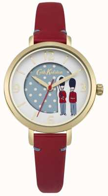 Cath Kidston Pulseira de couro vermelho mostrador branco CKL035RG