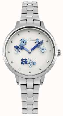 Cath Kidston Pulseira de aço inoxidável com mostrador branco com estampa floral azul CKL039SM