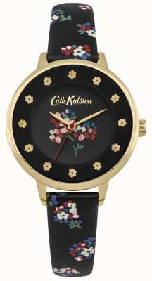 Cath Kidston Mostrador preto estampas florais flor marcadores de horas de ouro caso CKL040BG