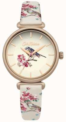 Cath Kidston Cinta de impressão de pássaro floral floral brid dial banhado a ouro CKL041EG