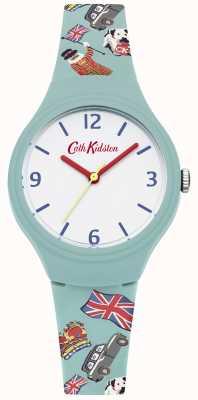 Cath Kidston Teal silicone impresso cinta branco mostrador vermelho mãos CKL026N