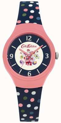 Cath Kidston Bracelete de mostrador azul com faixa de bolinhas multicor CKL027UP