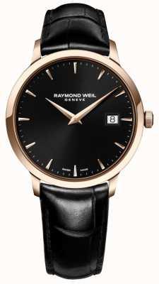 Raymond Weil Mens toccata pulseira de couro preto mostrador preto 5488-PC5-20001