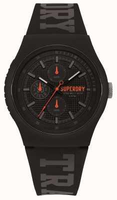 Superdry Correia de silicone preta com estampa cinza SYG188BB