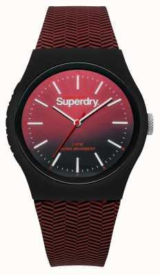 Superdry Vermelho para preto gradiente de discagem pulseira com estampa vermelha SYG184RB