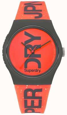 Superdry Pulseira de borracha caso urbano vermelho mostrador preto SYL189CE