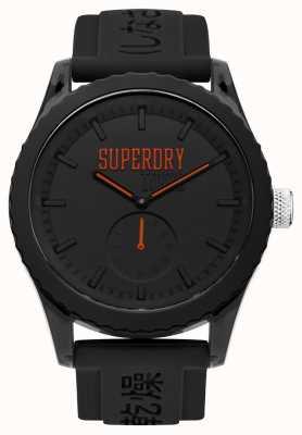 Superdry Tokyo black dial orange mãos pulseira de silicone preta SYG145BB