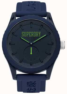 Superdry Tokyo marinha discagem mãos verdes pulseira de silicone azul SYG145UU