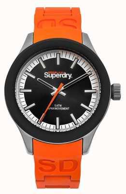 Superdry Pulseira de silicone laranja com mostrador preto Scuba SYG211O