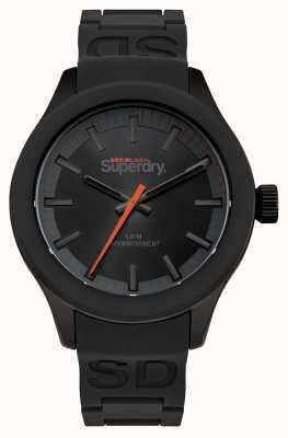 Superdry Mostrador preto com caixa preta e pulseira de silicone preta laranja segundo SYG211EE