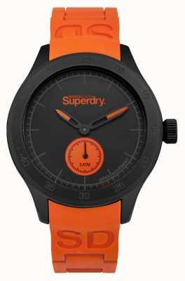 Superdry Pulseira de silicone laranja com mostrador preto Scuba SYG212OB