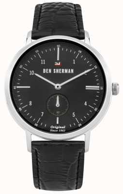 Ben Sherman O dylan profissional mostrador preto pulseira de couro preto WBS102BB