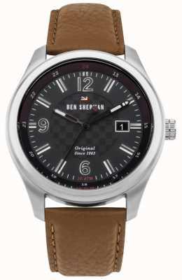 Ben Sherman A pulseira de couro marrom discman preto modelado social açucareiro WBS106BT