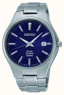 Seiko Mostrador de data de titânio mostrador azul SNE381P9