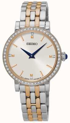 Seiko Caso de cristal de pulseira de dois tons de Womens SFQ810P1