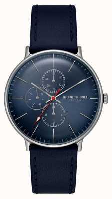 Kenneth Cole Nova Iorque mostrador azul data pulseira de couro KC15189001