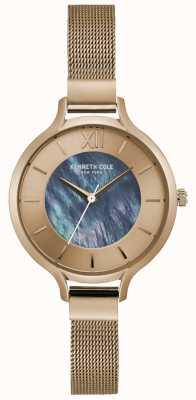 Kenneth Cole Nova york prata dial pulseira de malha de aço inoxidável KC15187001