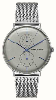 Kenneth Cole Nova york quartzo cinza dial pulseira de malha de aço inoxidável KC15188002