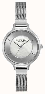 Kenneth Cole Pulseira de malha de aço inoxidável womens new york prata caso KC15187002