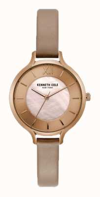 Kenneth Cole Womens nude dial champanhe caso pulseira de couro nua KC15187004