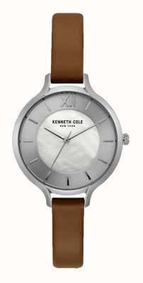 Kenneth Cole New york prata mostrador escuro pulseira de couro marrom KC15187005