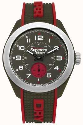 Superdry Navigator militar vermelho e verde dois tons pulseira de borracha SYG214N