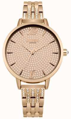 Lipsy Conjunto de cristal de ouro rosa sunray dial conjunto de cristal pulseira rosa LP533