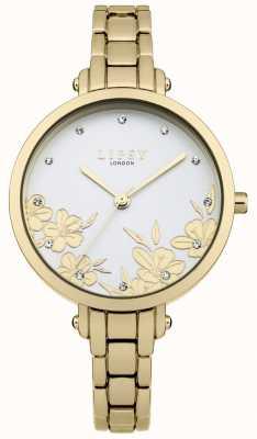 Lipsy Mostrador prateado com estampa floral dourada em cristal de aço inoxidável LP546