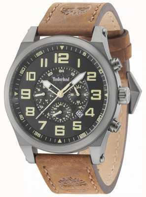 Timberland Tilden arma caixa de metal cinza pulseira de couro marrom 15247JSU/02
