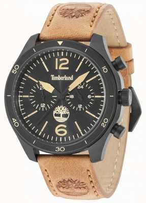Timberland Gloucester black dial pulseira de couro marrom 15255JSB/02