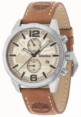 Timberland Sagamore creme dial pulseira de couro tan 15256JS/07