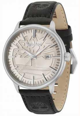 Timberland Edgemont pulseira de couro preto com mostrador bege 15260JS/11
