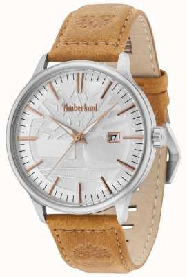 Timberland Edgemont prata pulseira de couro marrom 15260JS/04