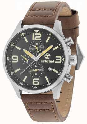 Timberland Rutherford mostrador preto pulseira de couro marrom 15266JS/02