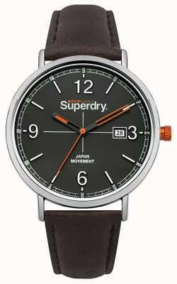 Superdry Mostrador cinza pulseira de couro marrom escuro SYG190BR