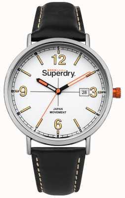 Superdry Bracelete de couro preto mostrador branco coroa laranja SYG190B