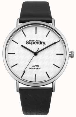 Superdry Correia de couro preto mostrador branco SYL190B