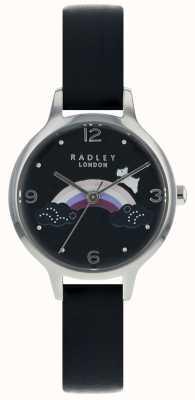 Radley Mulher arco-íris cão prata caso pulseira de couro preto RY2556
