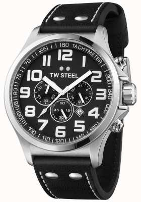 TW Steel Mens cronógrafo piloto pulseira de couro preto mostrador preto TW413