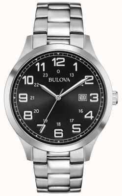 Bulova Data de exibição de rosto preto pulseira de metal de aço inoxidável 96B274