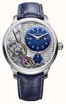 Maurice Lacroix Masterpiece gravity 25th anniversary pulseira de couro azul MP6118-SS001-434-1