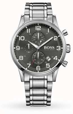Hugo Boss Mostrador de data Aeroliner cinza pulseira de aço inoxidável de discagem 1513181