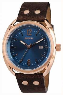 Breil Beaubourg aço inoxidável ipr blue dial brown strap TW1673