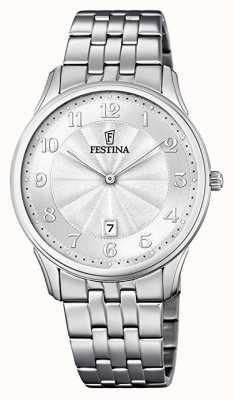 Festina Dial de pulseira de aço inoxidável de discagem padrão estampado clássico F6856/1