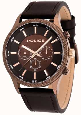 Police Mens relógio de couro marrom ritmo 15002JSBN/12