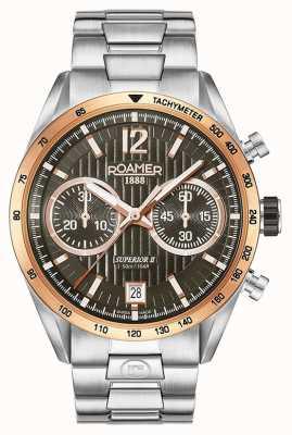 Roamer Mens superior chrono ii relógio de pulseira de prata 510902496450