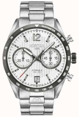 Roamer Mens superior chrono ii relógio de pulseira de prata 510902411450